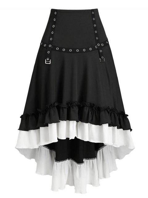 Convertible Flounce Buckle High Low Midi Skirt - BLACK L