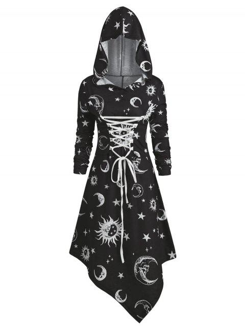 Skull Sun and Moon Lace Up Halloween Hooded Dress - BLACK L