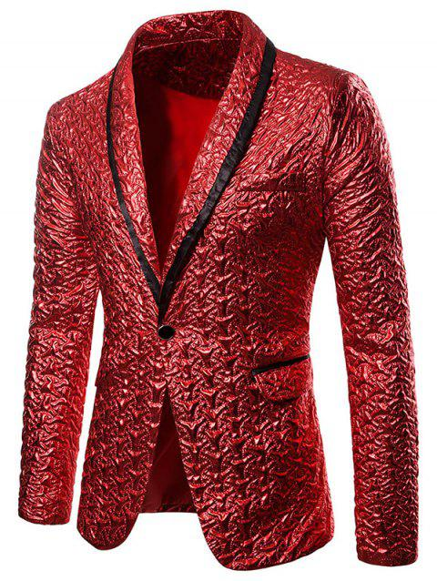 Lapel One Button Party Blazer - CHESTNUT RED 2XL