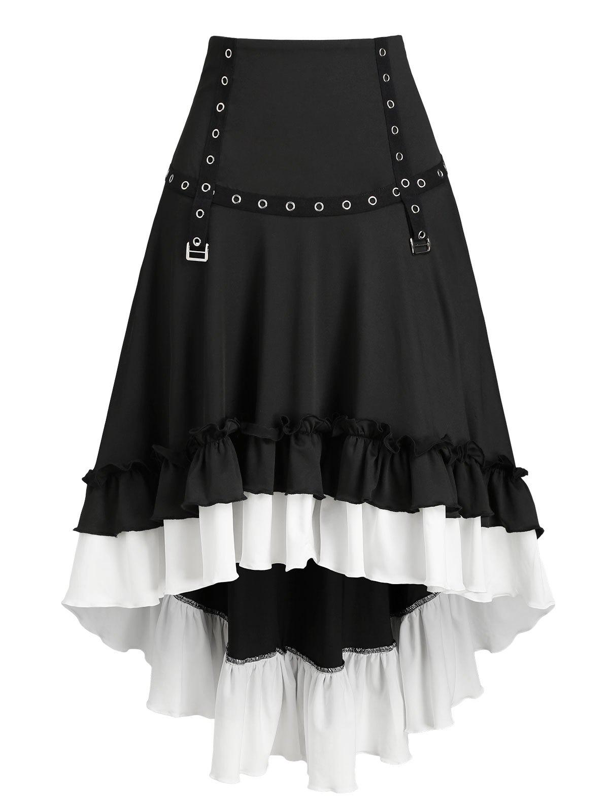 Convertible Flounce Buckle High Low Midi Skirt - BLACK XL