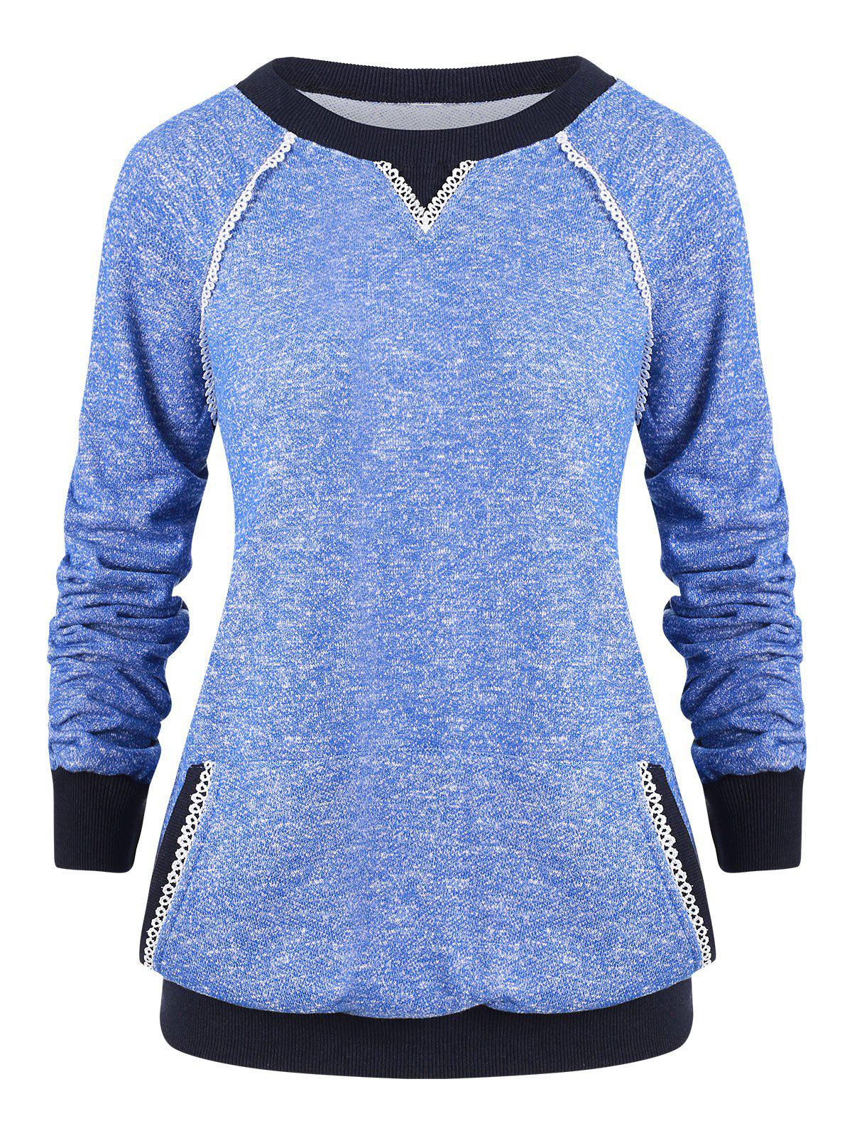 Sweat-shirt Chiné avec Poche Kangourou - Bleu L