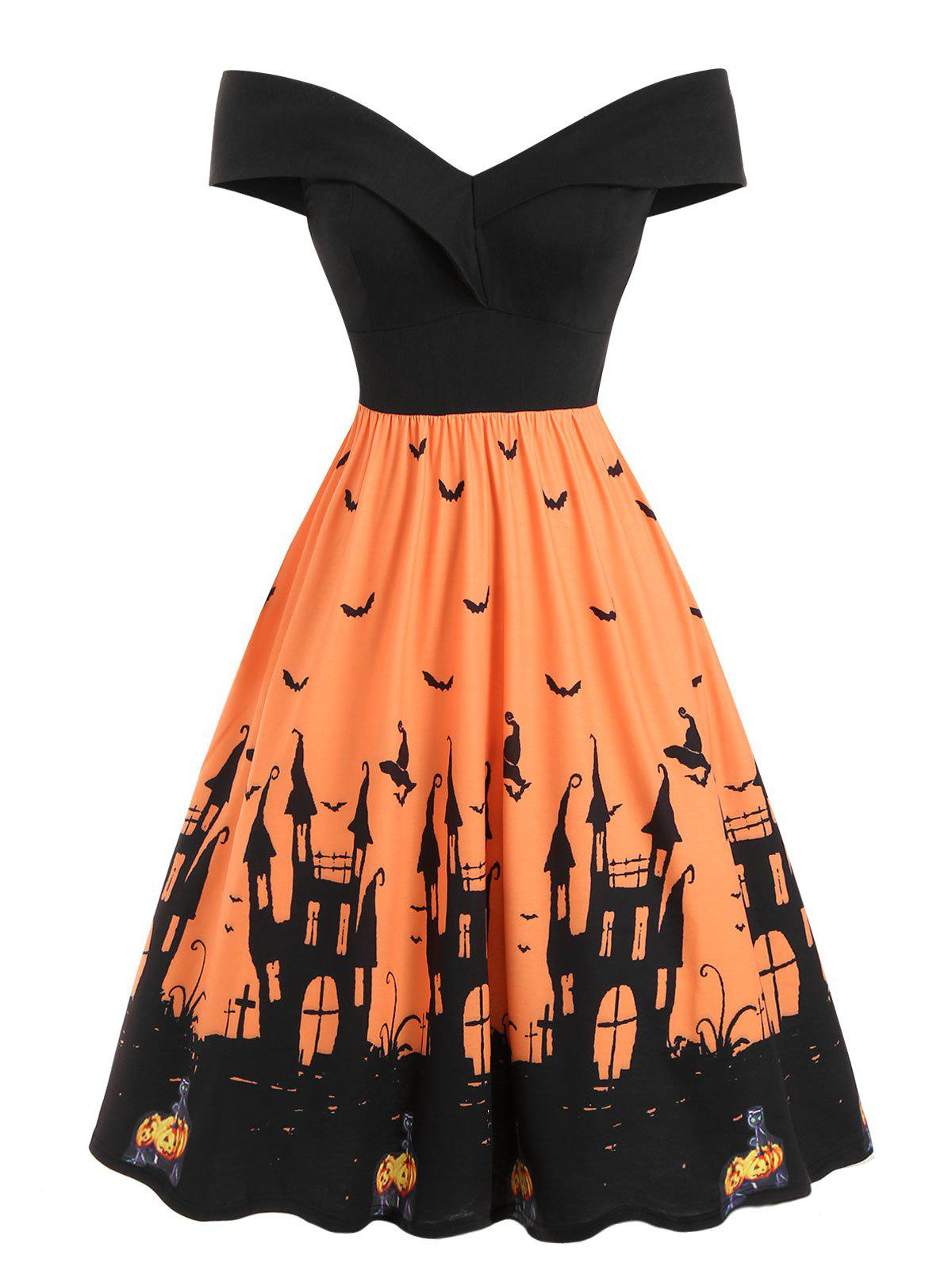 Off Shoulder Pumpkin Bat Flared Halloween Dress - PUMPKIN ORANGE 2XL
