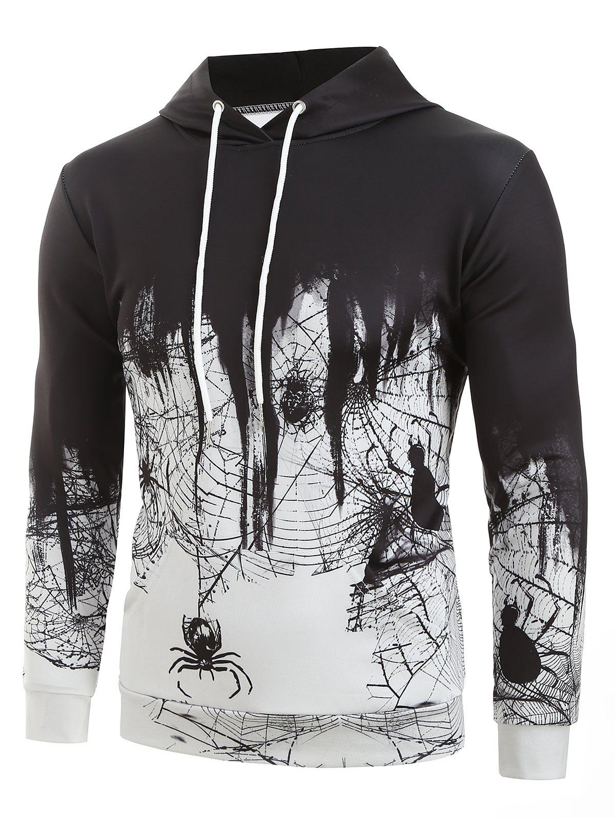 Spider Web Print Casual Hoodie - LIGHT GRAY M