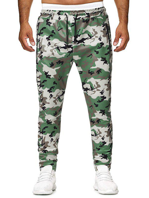 Camouflage Printed Zip Pocket Drawstring Pants - GREEN L