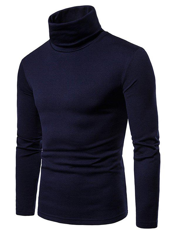 Solid Color Long Sleeve Turtle Neck Fleece T-shirt - CADETBLUE XL