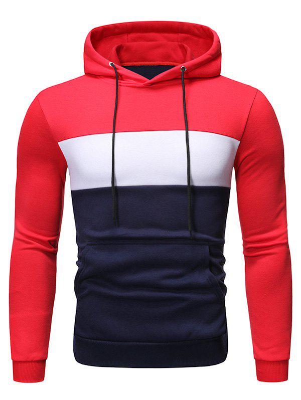Color Block Fleeces Drawstring Hoodie - RED 2XL