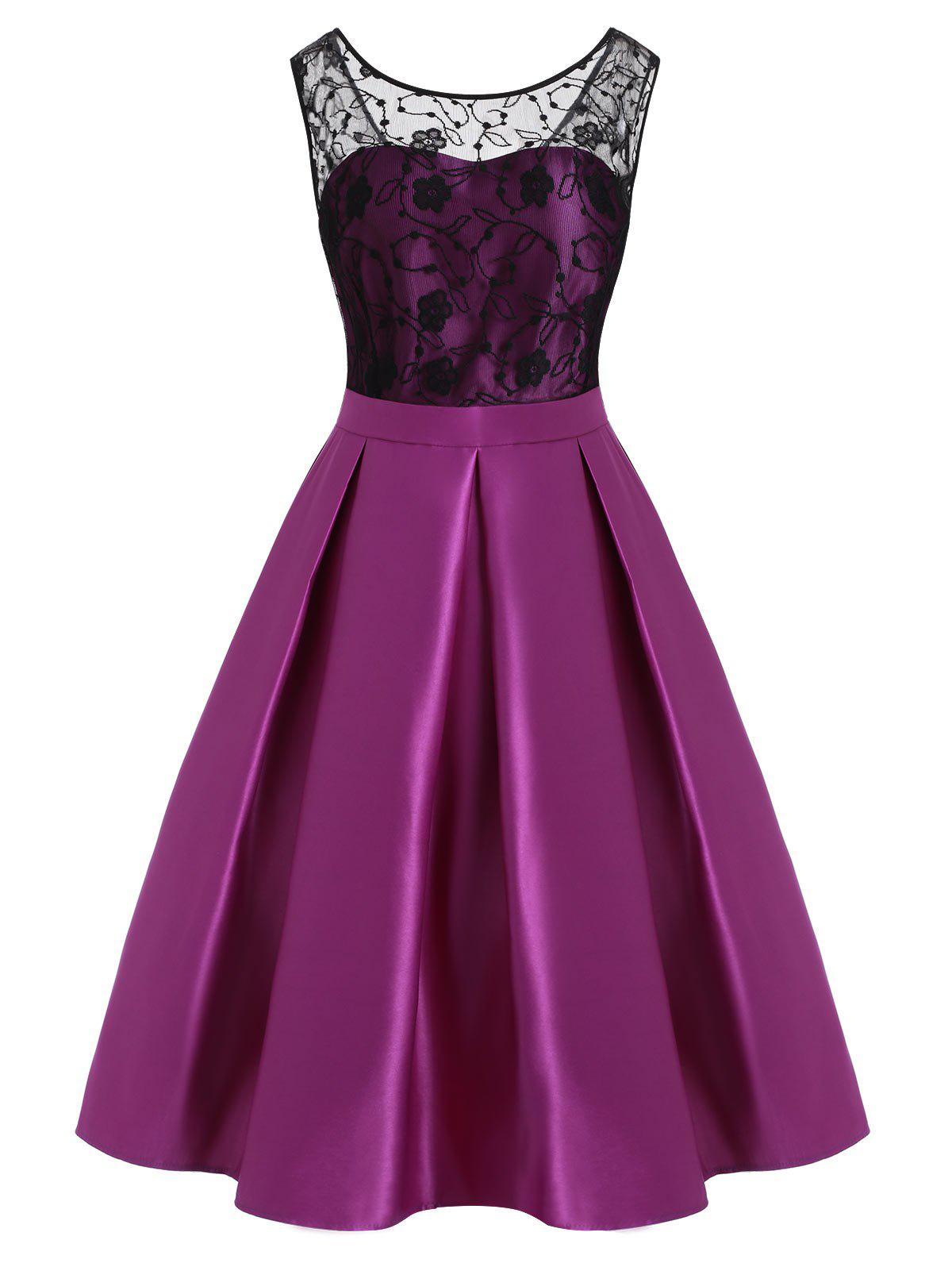 Lace Bodice Pleated-detail Plus Size Semi Formal Dress - PURPLE 2X
