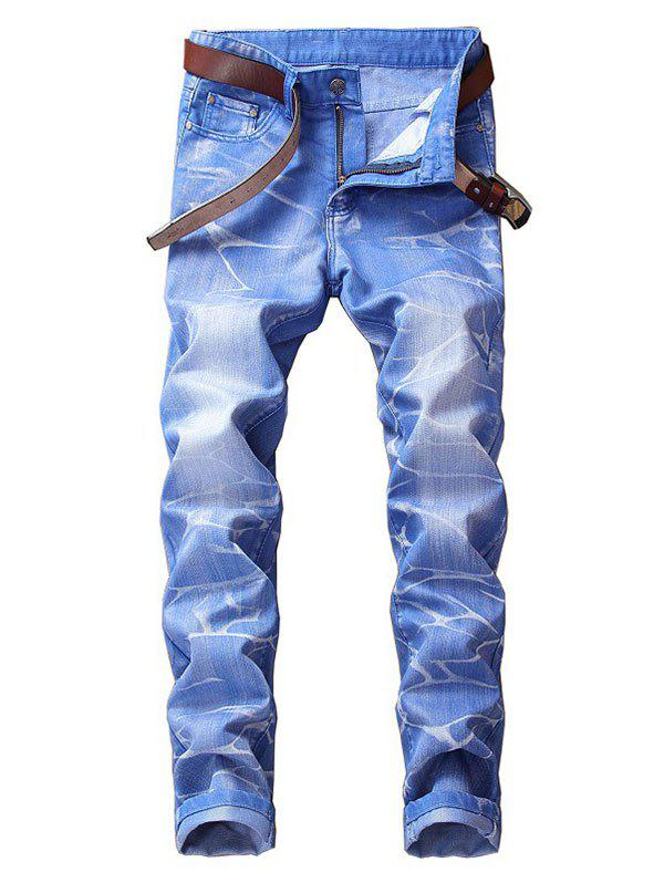 Long Faded Wash Print Zipper Fly Jeans - SEA BLUE 34