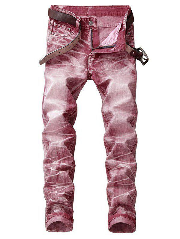 Long Faded Wash Print Zipper Fly Jeans - PINK ROSE 38