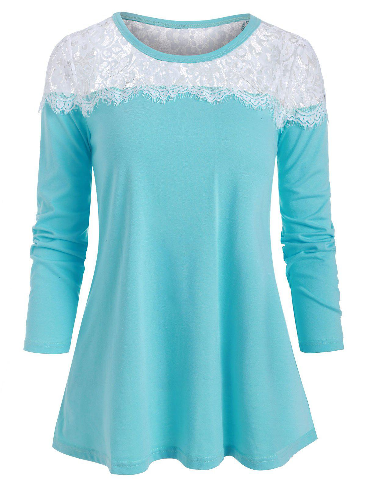 Lace Panel Long Sleeves Casual Tee - DEEP SKY BLUE XL