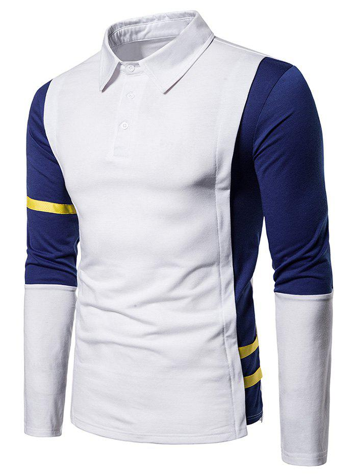 Image of Striped Trim Two Tone Turn Down Collar T Shirt