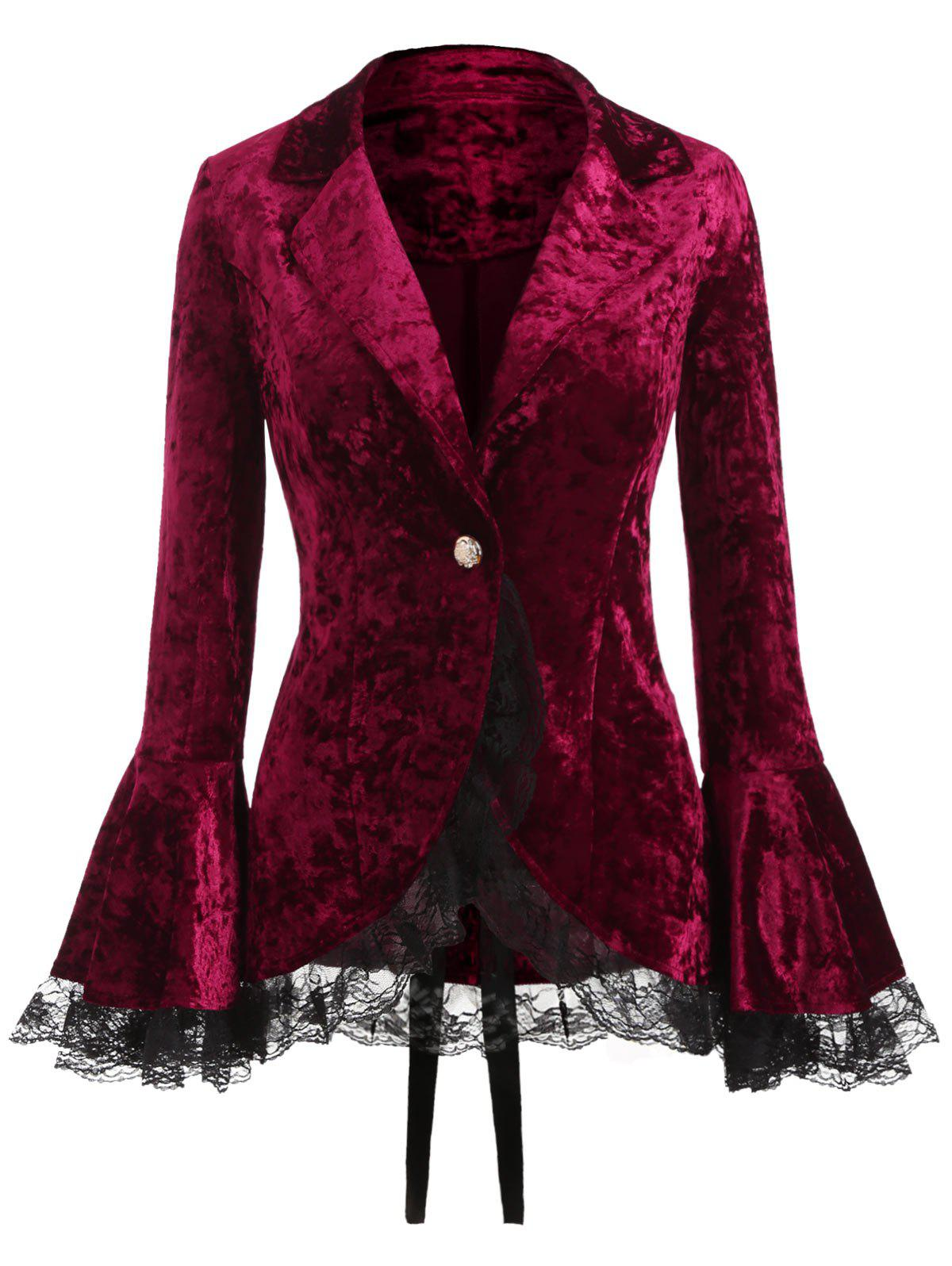 Corduroy Lace Up Long Sleeve Coat - RED WINE S
