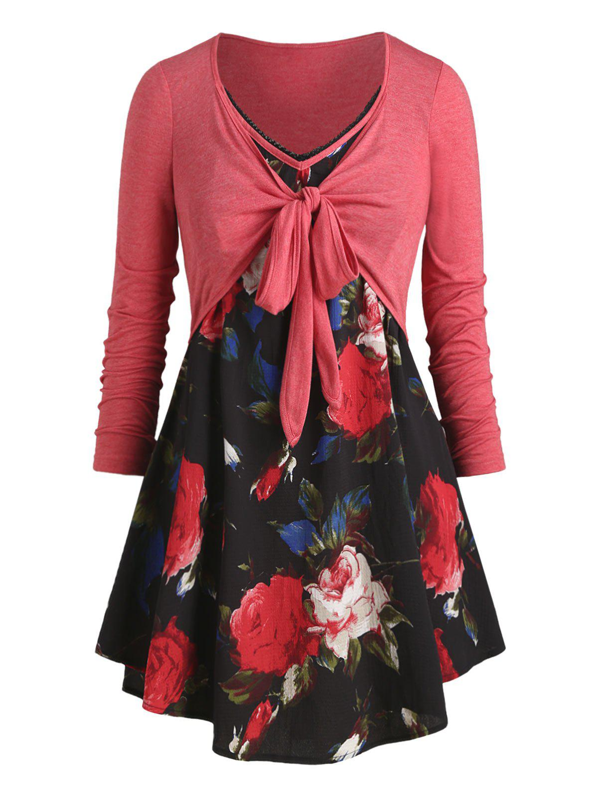Plus Size Knotted Flower Print Long Sleeve Tunic Tee - CHERRY RED L