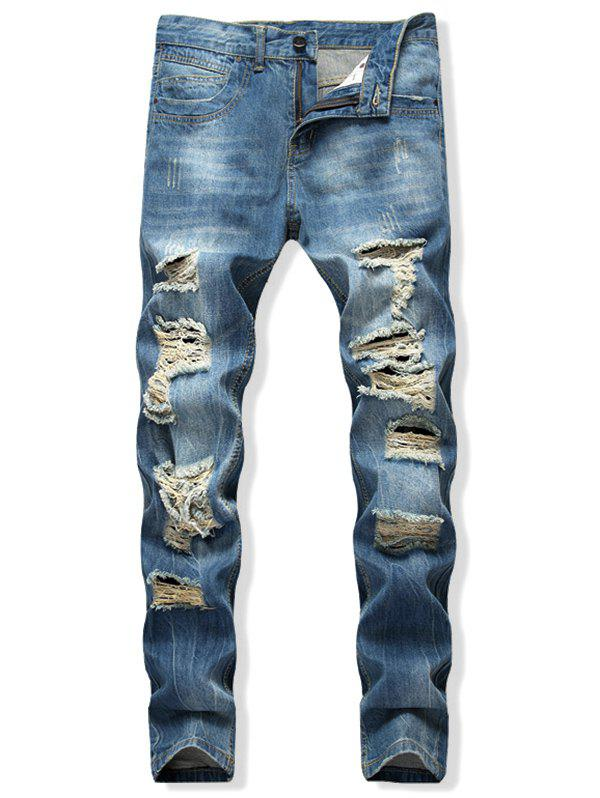 Distressed Destroy Wash Scratch Long Straight Jeans - LIGHT BLUE 32
