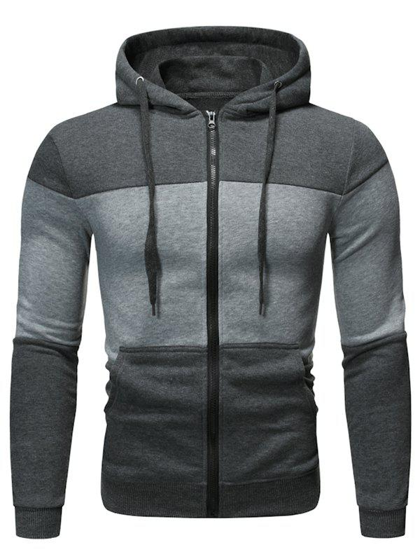 Color Block Zip Up Sport Hoodie - DARK GRAY 2XL