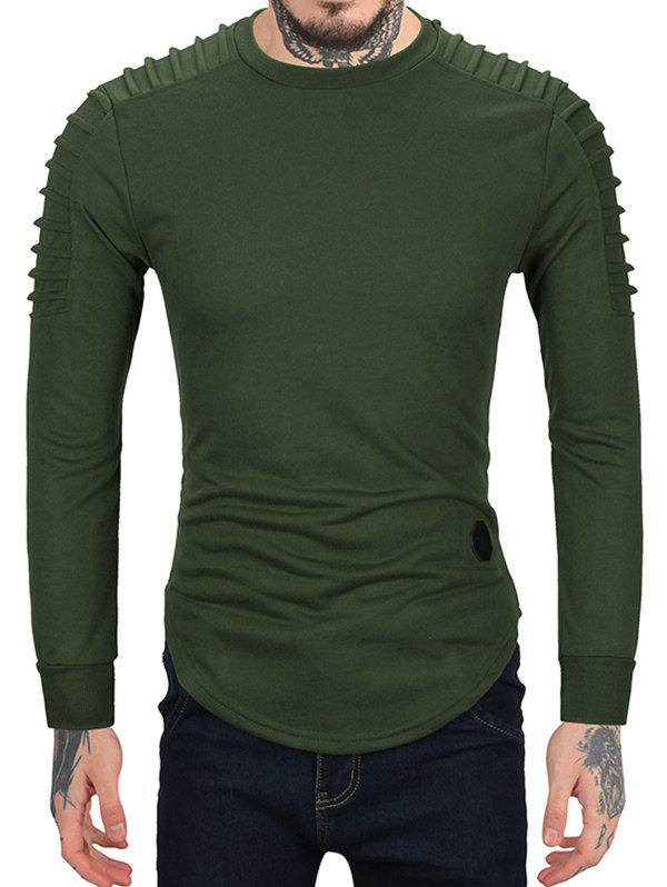 Pleated Sleeve Solid Color Curved Hem Sweatshirt - ARMY GREEN XL