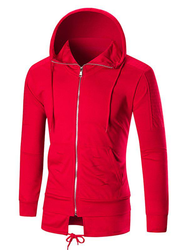 Faux Twinset Pleated Ripped Solid Color Zipper Hoodie - RED XL