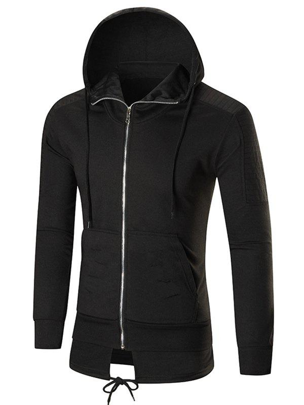 Faux Twinset Pleated Ripped Solid Color Zipper Hoodie - BLACK XL