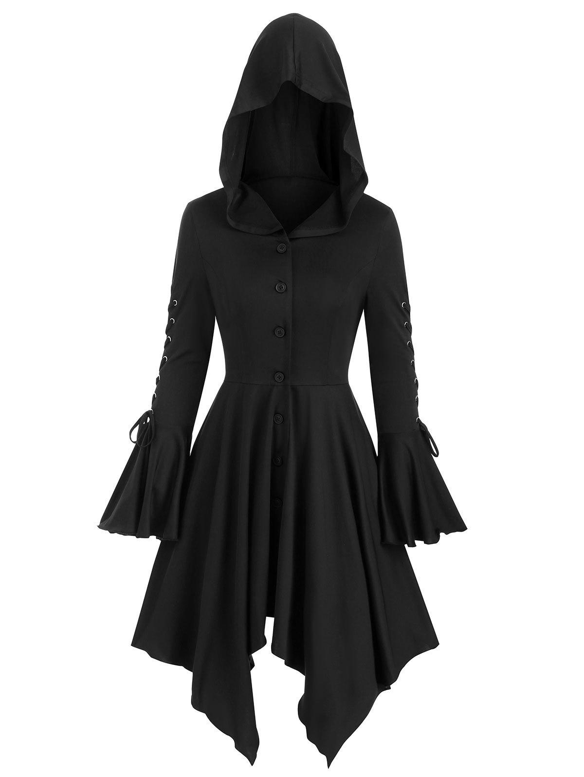 Hooded Lace-up Poet Sleeve Button Up Hanky Hem Skirted Gothic Coat - BLACK XL