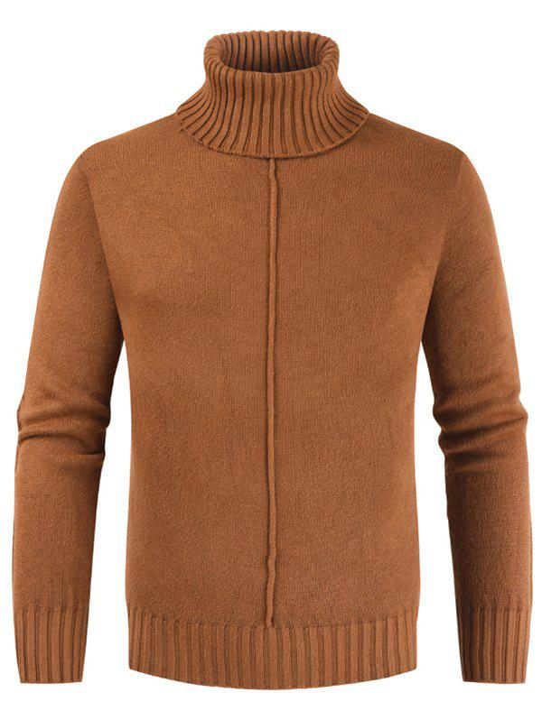 Casual Style Solid Color Turtleneck Sweater - TIGER ORANGE 2XL