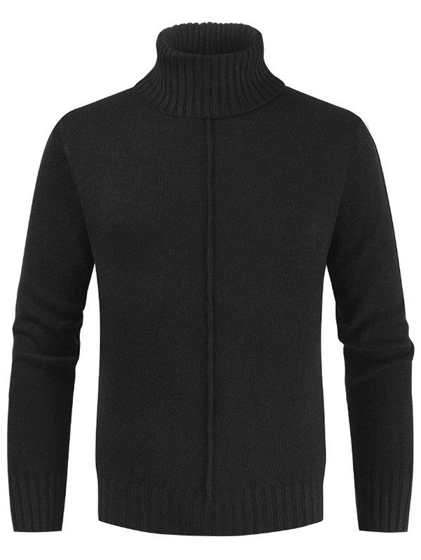 Casual Style Solid Color Turtleneck Sweater - BLACK 3XL