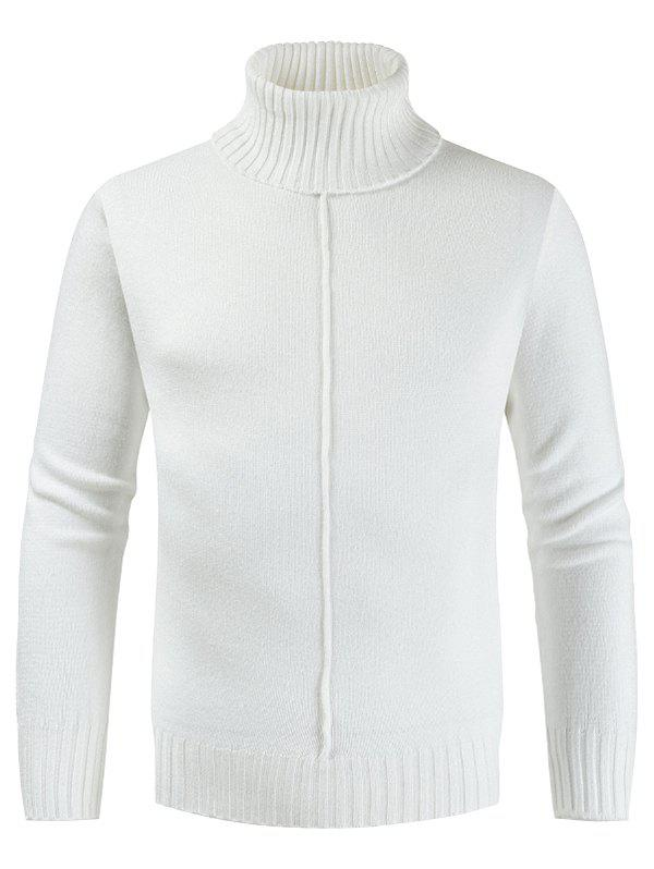 Casual Style Solid Color Turtleneck Sweater - WHITE L