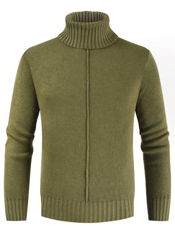 Casual Style Solid Color Turtleneck Sweater - FERN GREEN L