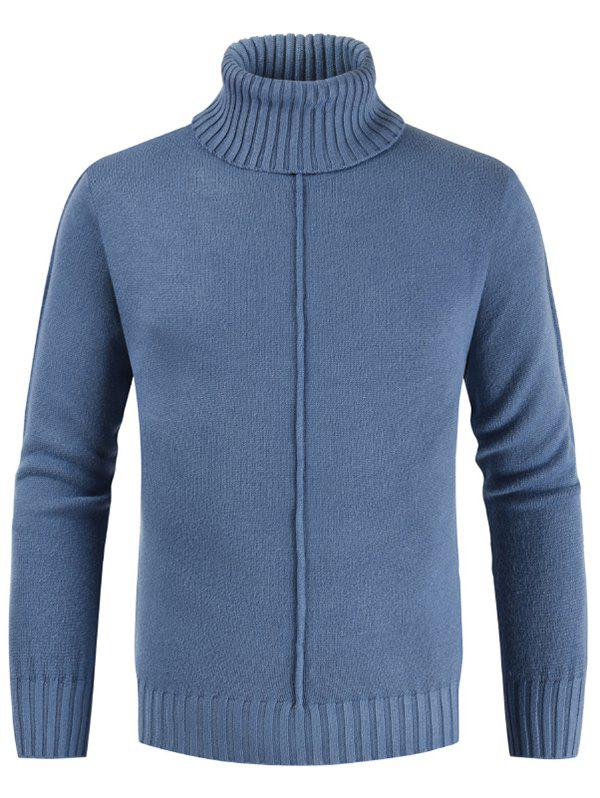 Casual Style Solid Color Turtleneck Sweater - SILK BLUE XL