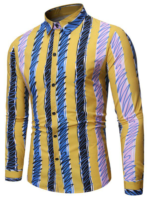 Colorful Striped Print Full Sleeves Shirt - RUBBER DUCKY YELLOW 2XL