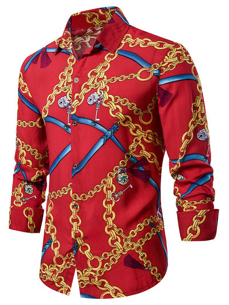 Chain Print Long Sleeve Button Up Curved Hem Shirt - multicolor M