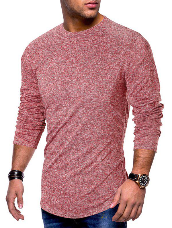 Long Sleeve Curved Hem Solid T-shirt - RED M