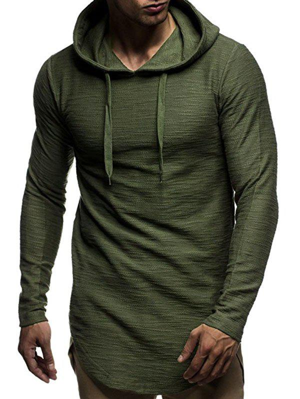 Long Sleeve Curved Hem Pullover Tunic Hoodie - ARMY GREEN 3XL