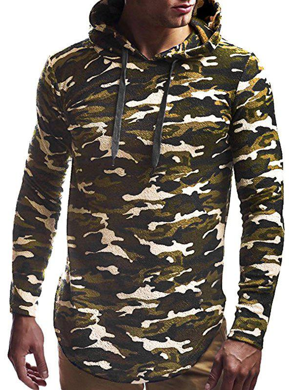 Long Sleeve Curved Hem Pullover Tunic Hoodie - CAMOUFLAGE GREEN XL