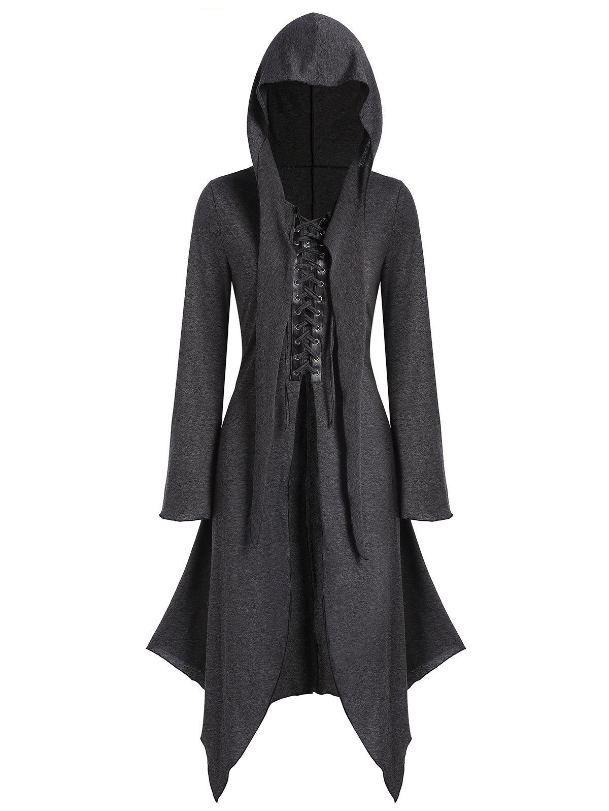 Hooded Lace-up Front Heathered Handkerchief Skirted Gothic Coat - CARBON GRAY L