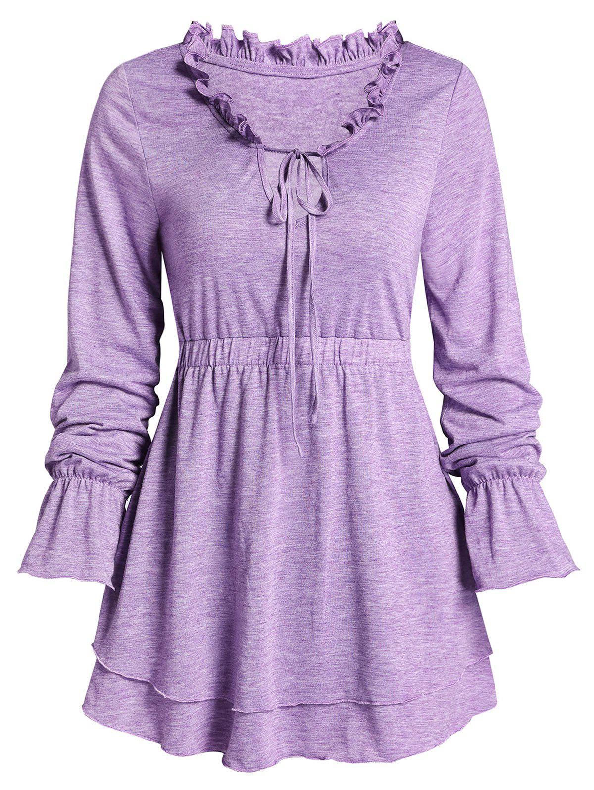 Space Dye Print Poet Sleeve Ruffle Layered T-shirt - VIOLET 3XL