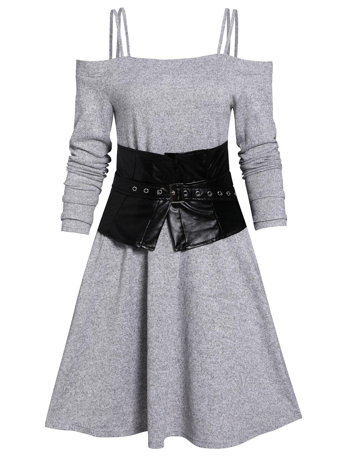 Open Shoulder A Line Dress And Corset Belt - LIGHT GRAY L