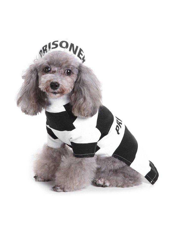 Prison Pattern Striped Clothes and Hat for Pet - BLACK S