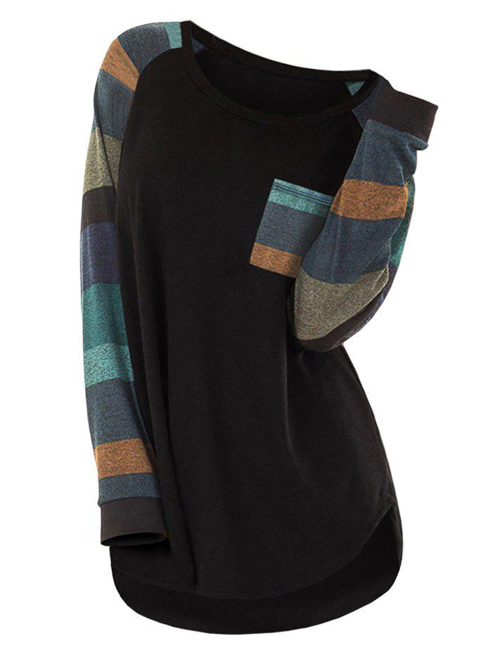 Plus Size Striped Color Blocking Pocket T Shirt - BLACK 5X