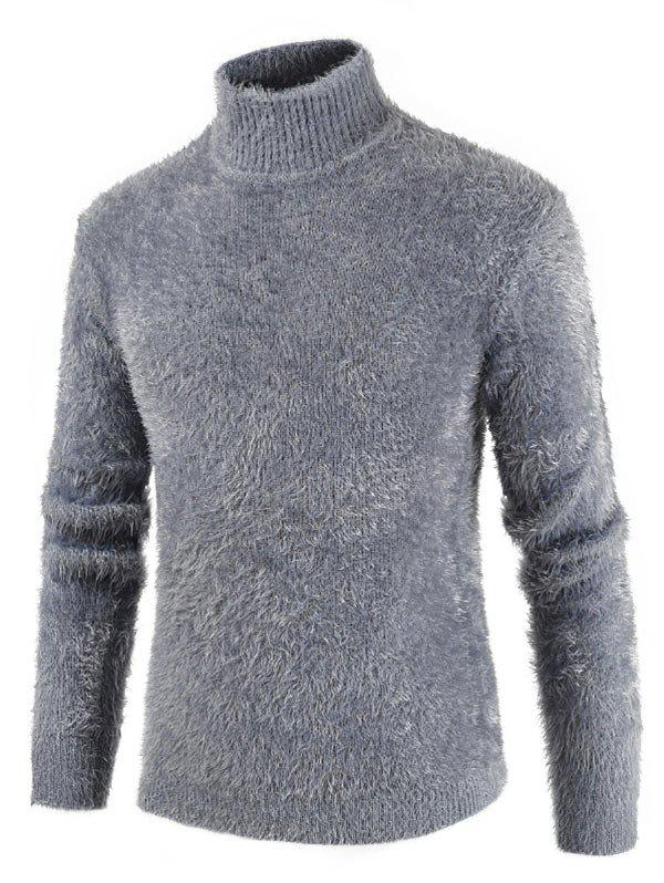 Casual Solid Color Mock Neck Sweater - LIGHT GRAY 2XL