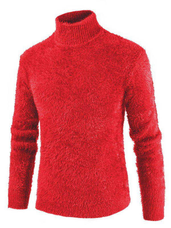 Casual Solid Color Mock Neck Sweater - RUBY RED 2XL