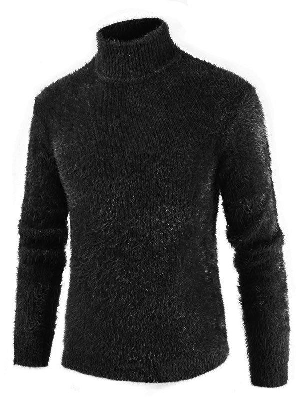 Casual Solid Color Mock Neck Sweater - BLACK 3XL