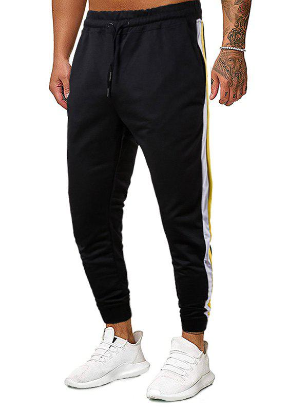 Color Spliced Drawstring Casual Style Pants - BLACK 2XL