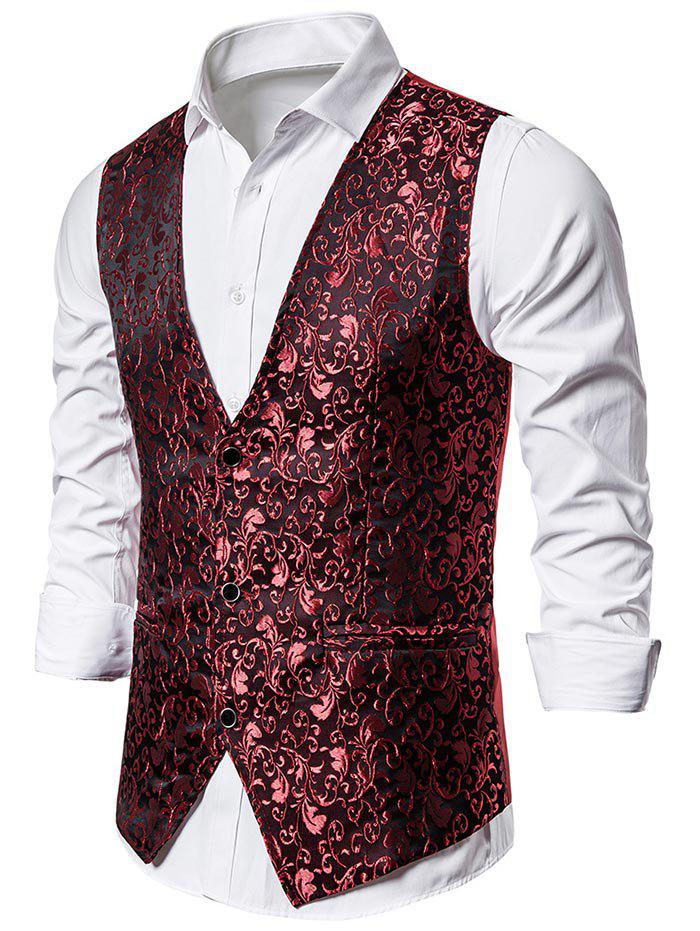 Jacquard Single Breasted Faux Pockets Vest - RED WINE 2XL
