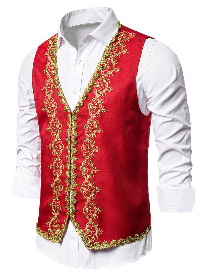 European Style Embroidery Hook and Eye Tuxedo Vest - RED L