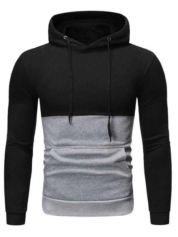 Two Tone Color Panel Pullover Hoodie - BLACK XL