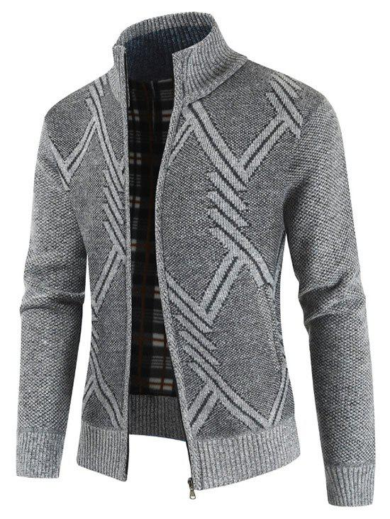 Geometric Pattern Stand Collar Cardigan - LIGHT GRAY 2XL