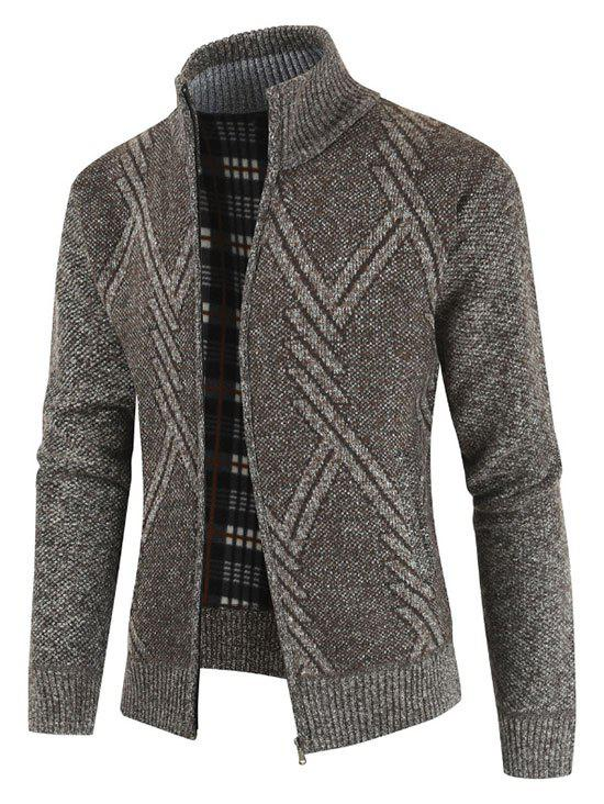Geometric Pattern Stand Collar Cardigan - SAND XL
