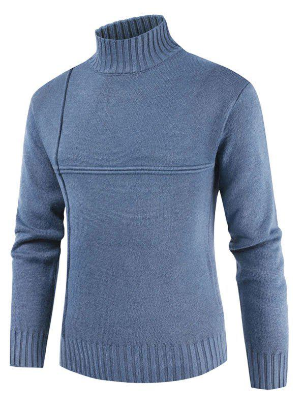 Solid Color Mock Neck Casual Sweater - SEA BLUE XL