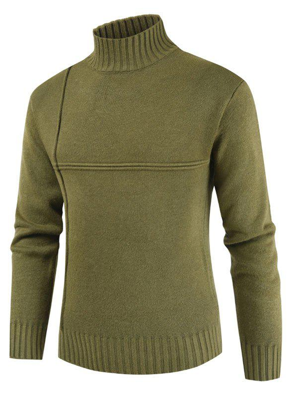 Solid Color Mock Neck Casual Sweater - DARK GREEN XL