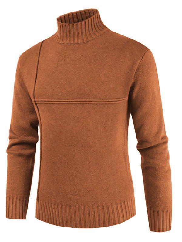 Solid Color Mock Neck Casual Sweater - CARAMEL M